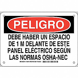 "Electrical Hazard, Peligro, Aluminum, 7"" x 10"", With Mounting Holes, Not Retroreflective"