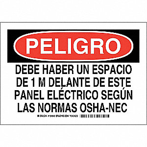 "Electrical Hazard, Peligro, Polyester, 7"" x 10"", Adhesive Surface, Not Retroreflective"