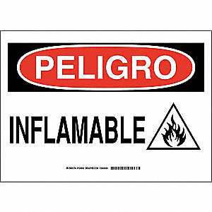 "Chemical, Gas or Hazardous Materials, Peligro, Polyester, 7"" x 10"", Adhesive Surface"