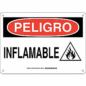"Chemical, Gas or Hazardous Materials, Peligro, Aluminum, 10"" x 14"", With Mounting Holes"