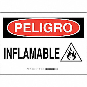 "Chemical, Gas or Hazardous Materials, Peligro, Polyester, 10"" x 14"", Adhesive Surface"