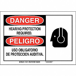 "Personal Protection, Danger/Peligro, Aluminum, 7"" x 10"", With Mounting Holes, Not Retroreflective"