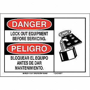"Lockout Tagout, Danger/Peligro, Aluminum, 10"" x 14"", With Mounting Holes, Not Retroreflective"