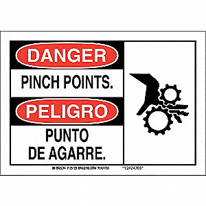 "Keep Hands Clear, Danger/Peligro, Plastic, 10"" x 14"", With Mounting Holes, Not Retroreflective"