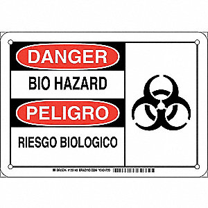 "Biohazard, Danger/Peligro, Plastic, 7"" x 10"", With Mounting Holes, Not Retroreflective"
