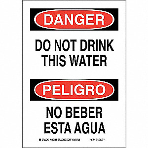 "Potable Water, Danger/Peligro, Aluminum, 10"" x 7"", With Mounting Holes, Not Retroreflective"