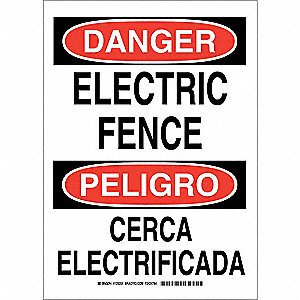"Electrical Hazard, Danger/Peligro, Polyester, 14"" x 10"", Adhesive Surface, Not Retroreflective"