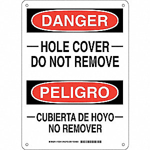 "Accident Prevention, Danger/Peligro, Aluminum, 14"" x 10"", With Mounting Holes, Not Retroreflective"