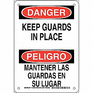 "Machine Guarding, Danger/Peligro, Plastic, 10"" x 7"", With Mounting Holes, Not Retroreflective"