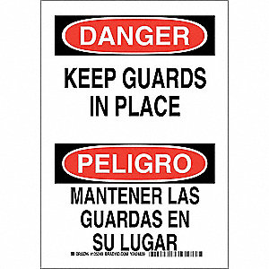 "Machine Guarding, Danger/Peligro, Polyester, 10"" x 7"", Adhesive Surface, Not Retroreflective"