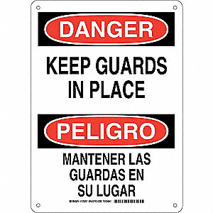 "Machine Guarding, Danger/Peligro, Plastic, 14"" x 10"", With Mounting Holes, Not Retroreflective"