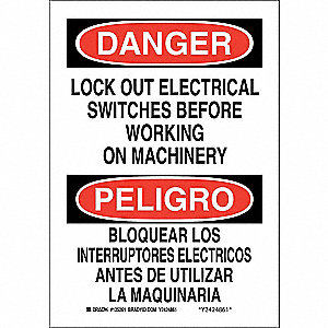 "Lockout Tagout, Danger/Peligro, Aluminum, 14"" x 10"", With Mounting Holes, Not Retroreflective"