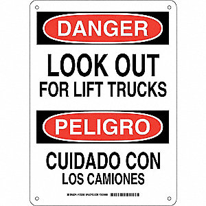 "Lift Truck Traffic, Danger/Peligro, Aluminum, 14"" x 10"", With Mounting Holes, Not Retroreflective"