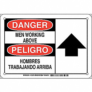 "Person Working, Danger/Peligro, Plastic, 7"" x 10"", With Mounting Holes, Not Retroreflective"