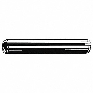 Steel Slotted Spring Pin, 6mm L, Plain Fastener Finish