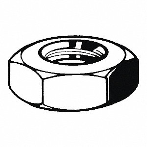 "3/8""-16 Hex Nut - Heavy, Zinc Plated Finish, Grade A Steel, Right Hand, ASME B18.2.2, PK100"