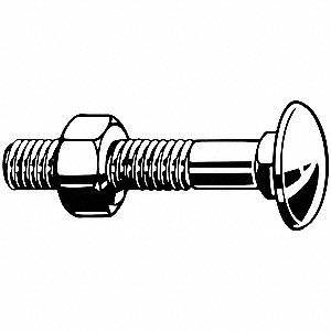 100mm Steel Carriage Bolt, Class 4.6, Zinc Plated Finish, M16-2.00 Dia/Thread Size, 10 PK
