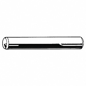 Steel Dowel Pin, Plain Finish, 60 mm L, 12.0 mm Pin Dia.