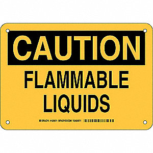 "Chemical, Gas or Hazardous Materials, Caution, Plastic, 7"" x 10"", With Mounting Holes"
