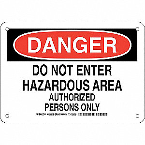 "Authorized Personnel and Restricted Access, Danger, Plastic, 7"" x 10"", With Mounting Holes"