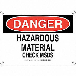 "SDS or Right to Know, Danger, Plastic, 10"" x 14"", With Mounting Holes, Not Retroreflective"