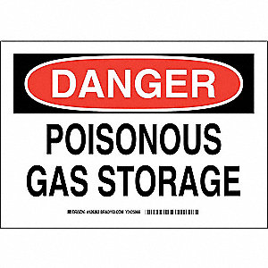 "Chemical, Gas or Hazardous Materials, Danger, Polyester, 7"" x 10"", Adhesive Surface"