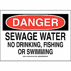 "Potable Water, Danger, Polyester, 10"" x 14"", Adhesive Surface, Not Retroreflective"
