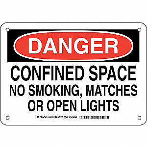 "Confined Space, Danger, Plastic, 7"" x 10"", With Mounting Holes, Not Retroreflective"