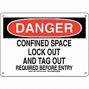 "Lockout Tagout, Danger, Aluminum, 10"" x 14"", With Mounting Holes, Not Retroreflective"