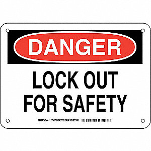 "Lockout Tagout, Danger, Plastic, 7"" x 10"", With Mounting Holes, Not Retroreflective"