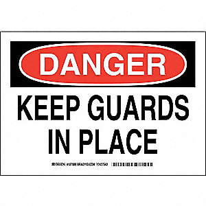 "Machine Guarding, Danger, Polyester, 7"" x 10"", Adhesive Surface, Not Retroreflective"