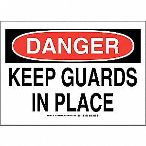 "Machine Guarding, Danger, Polyester, 10"" x 14"", Adhesive Surface, Not Retroreflective"