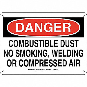 "No Smoking, Danger, Aluminum, 10"" x 14"", With Mounting Holes, Not Retroreflective"