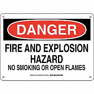 Danger No Smoking Sign,Fire Hazard,10x14