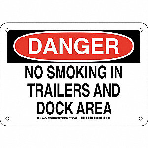 Danger No Smoking Sign,In Trailers,7x10