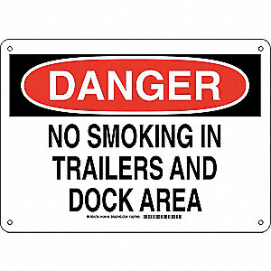 Danger No Smoking Sign,In Trailers,10x14