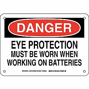"Personal Protection, Danger, Plastic, 7"" x 10"", With Mounting Holes, Not Retroreflective"