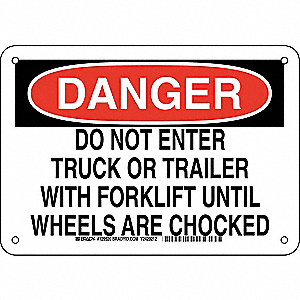 "Chock Wheels, Danger, Plastic, 7"" x 10"", With Mounting Holes, Not Retroreflective"