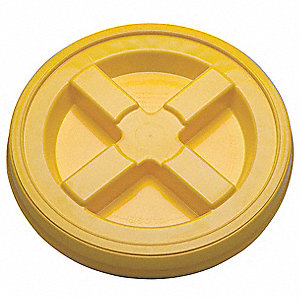 Plastic Pail Lid,Dia 12-3/8 In,Yellow