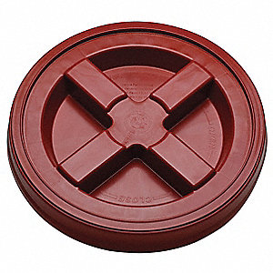 PLASTIC PAIL LID,DIA 12-3/8 IN,RED