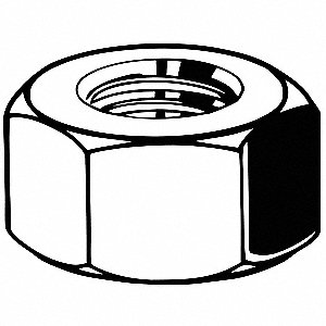 "3/8""-16 Hex Nut, Plain Finish, Grade 2 Steel, Right Hand, ASME B18.2.2, PK1300"