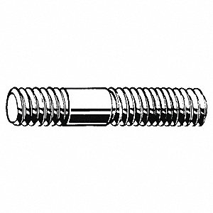 57mm Steel Double End Threaded Stud with Plain Finish; PK100