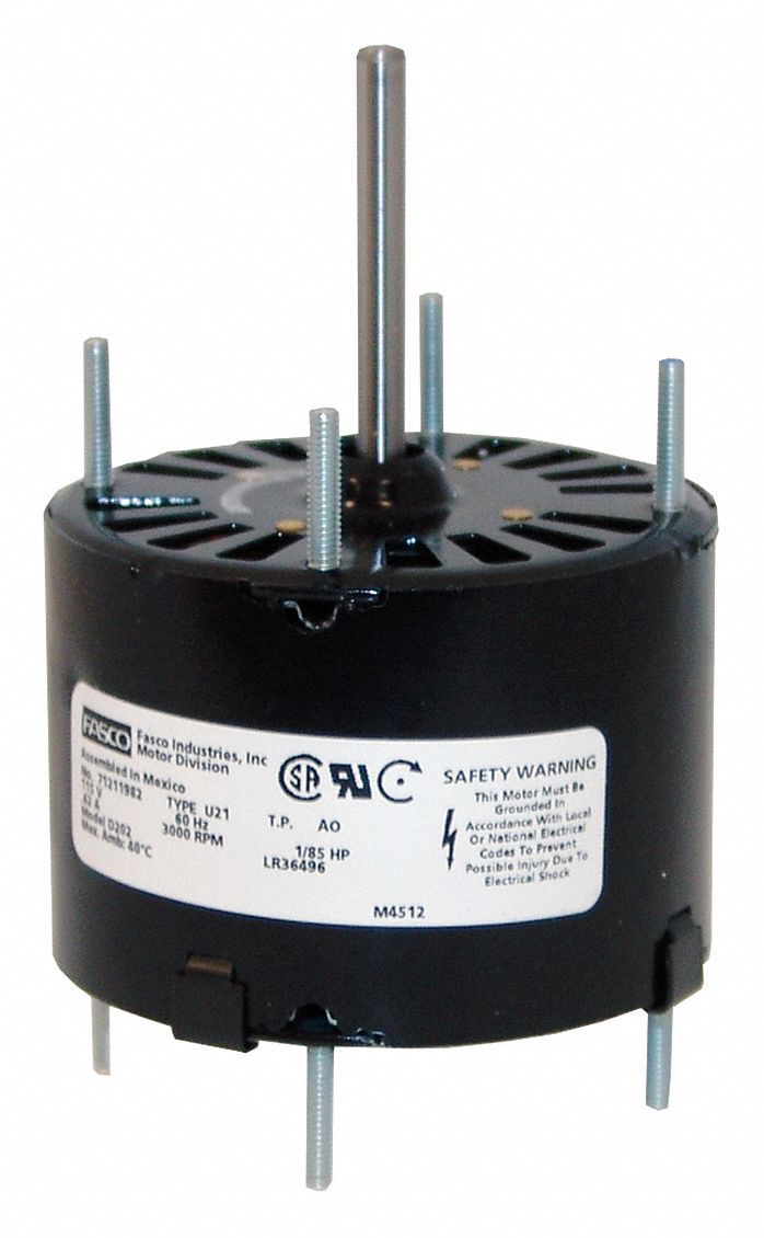 Direct Drive Blower Motor,  1/20 HP,  Shaded Pole,  Nameplate RPM 1,500,  No. of Speeds 1