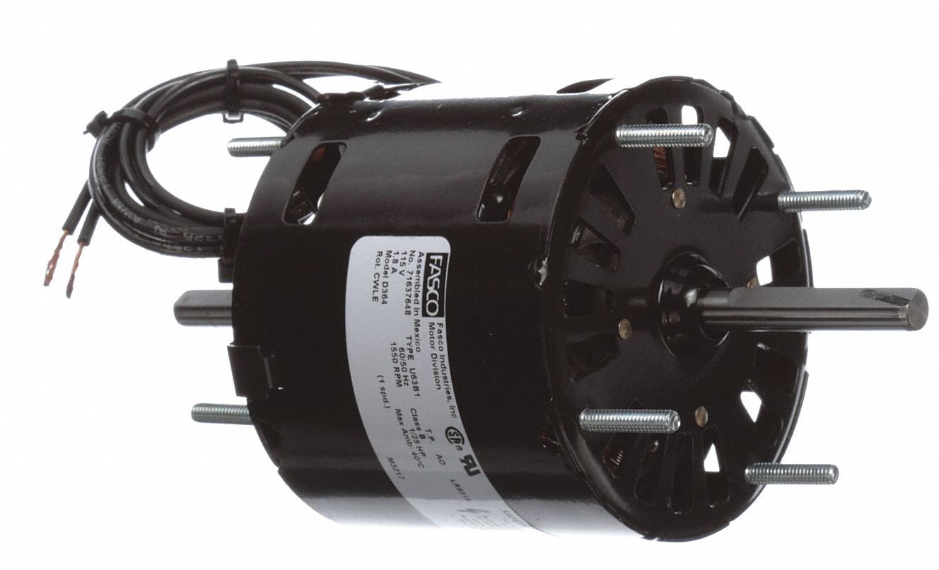 Direct Drive Blower Motor,  1/25 HP,  Shaded Pole,  Nameplate RPM 1,550,  No. of Speeds 1