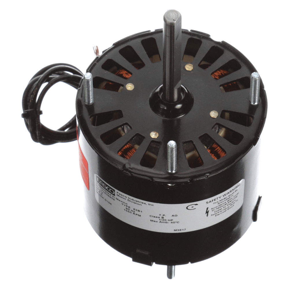 1/20 HP, HVAC Motor, Shaded Pole, 1550 Nameplate RPM, 460 Voltage, Frame 3 3