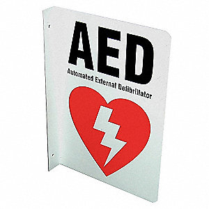 Safety Sign,AED,L-Shaped,10x7 In.