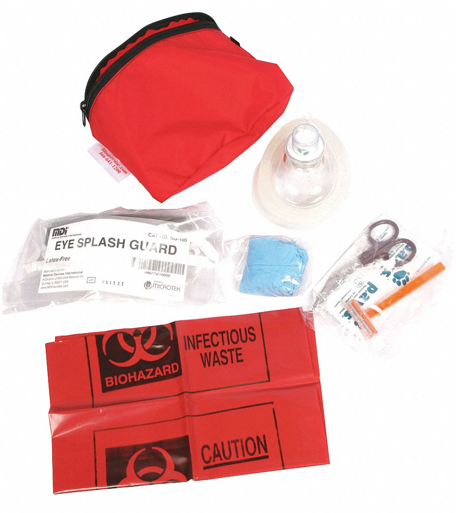 CPR Kit,  1 People Served,  Number of Components 10,  Nylon,  3 in Height,  10 in Width,  Red