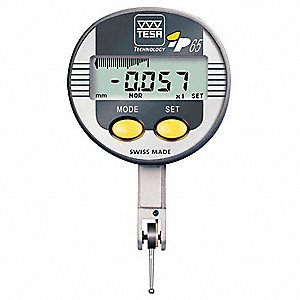 "Electronic Digital Indicator, .02""/.5mm Range, .0005""/.00005""/.01mm/.001mm Resolution, 10µm Accuracy"