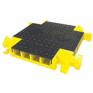 Drop Over 4-Channel Cable Protector 4-Way Cross, Black, Yellow, 24""