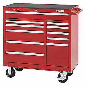 "Red Heavy Duty Rolling Cabinet, 42-1/2"" H X 41"" W X 18"" D, Number of Drawers: 11"